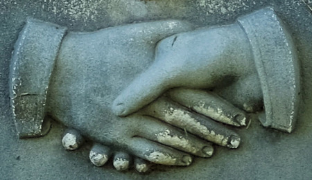Clasping hands, headstone, Logan city cemetery