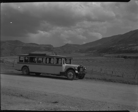 Another View of a U.I.C. Passenger Bus Near Box Elder Canyon, 1926<br />