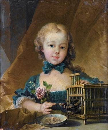 Portrait of Alexandrine Le Normant d'Étiolles, playing with a Goldfinch