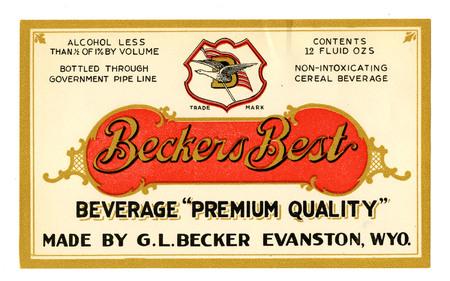 Becker's Best Bottle Label, 1917
