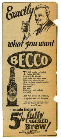 Advertisement for Becker's Becco (3 of 9), 1926