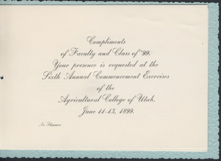 1899 UAC Commencement Invitation, Page 1