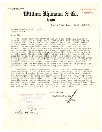 Letter from the William Uhlmann and Company to the Becker Brewing and Malting Company, 1917