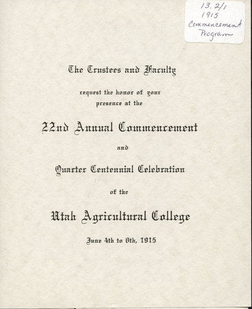 1915 UAC Commencement Invitation Cover