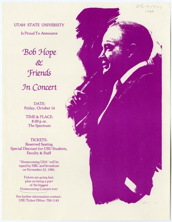 Bob Hope homecoming concert poster, 1983