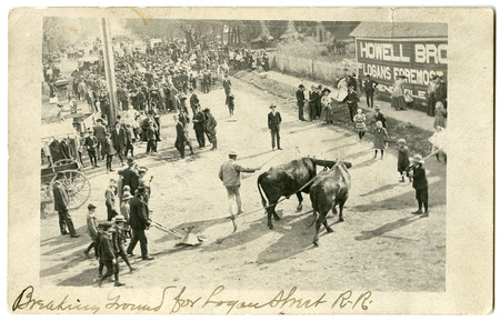 Cattle and Plow Break Ground for the Construction of the Logan Rapid Transit System as Crowd Watches<br />