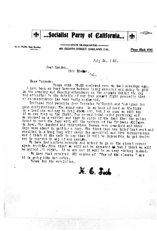 Letter from H.C. Tuck to Jack London, dated July 29, 1905