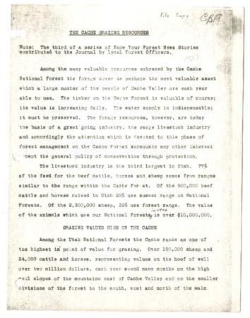 """""""The Cache Grazing Resources"""" from """"Know Your Forest News Stories"""", ca. 1927."""