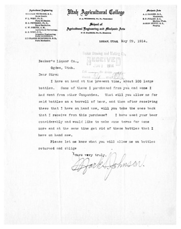 Utah Agricultural College Correspondence with Becker Brewing and Malting Company, 1914