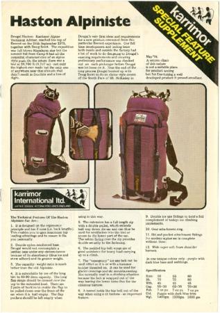 Karrimor International Ltd., Haston Alpiniste, undated