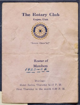 The Rotary Club Logan, Utah Roster of Members, 1923-24