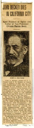 Obituary of John S. Becker, 1918