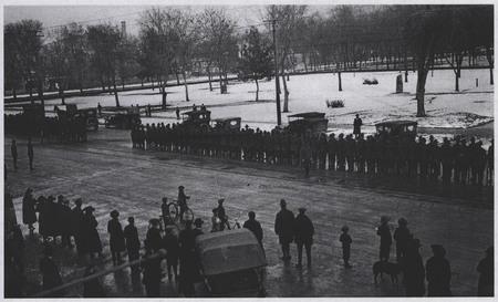 World War I Soldiers Await the U.I.C. on Main Street, Logan - 2<br />