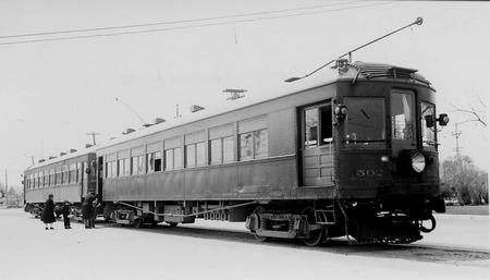 U.I.C. Engine #502 and Passenger Car in Preston, Idaho, 1939<br />