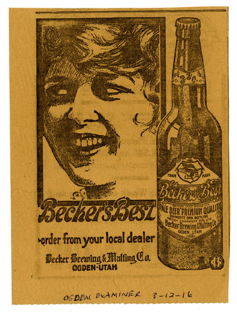 Advertisement for Becker's Best (17 of 29), 1916