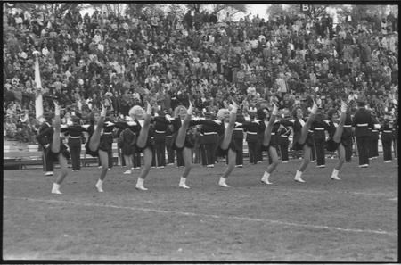 Cheerleaders at a homecoming game, 1965