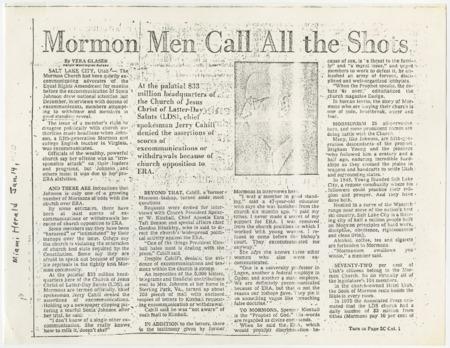 Mormon Men Call All the Shots