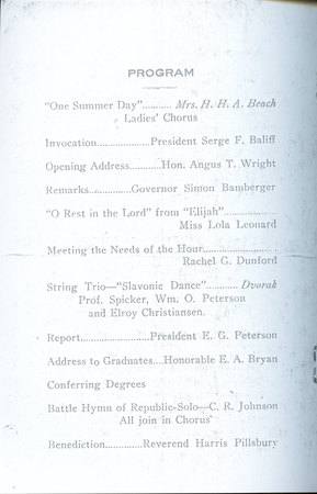 1918 UAC Commencement Program Page 1