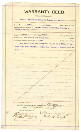 Warranty Deed to the Becker Brewing and Malting Company, 1896