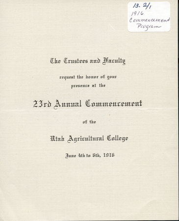 1916 UAC Commencement Invitation Cover