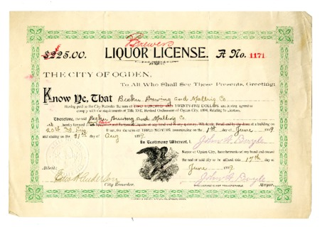 Ogden City Brewers License (1 of 2), 1899