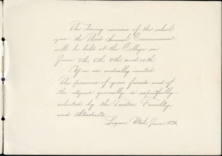 1896 UAC Commencement Invitation, Page 1
