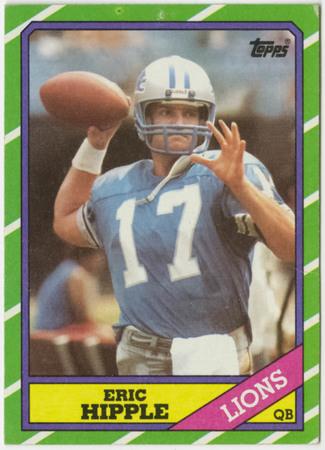 Football card - Eric Hipple, Detroit Lions, 1986