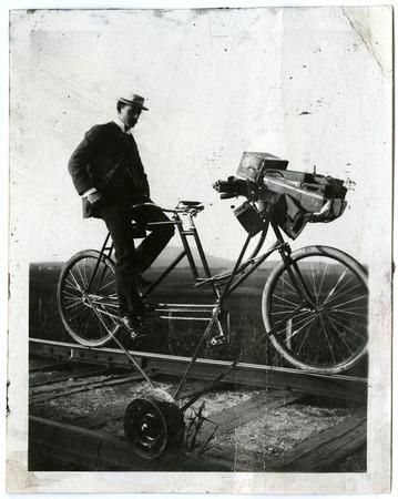 Railroad Track Checker on a Bike<br />