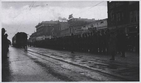 The U.I.C. Arrives for World War I Soldiers on Main Street, Logan<br />