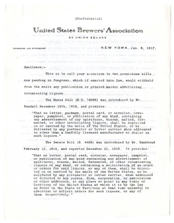 Bulletin from the United States Brewers' Association, 1917