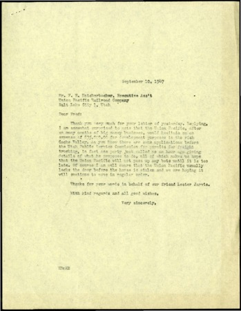 Bullen Reply to Knickerbocker, Cache Valley Rail Service, September, 1947<br />