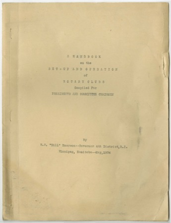 A Handbook on the Set-up and Operation of Rotary Clubs, 1934