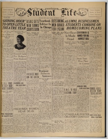 "Front page of the ""Student Life"" newspaper, October 11, 1934"