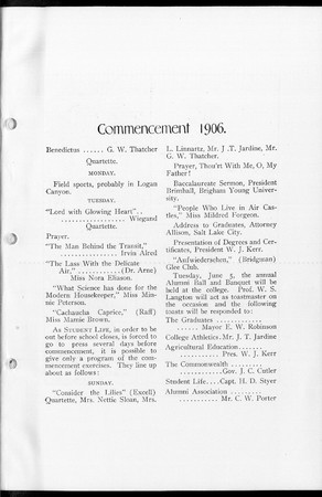 1906 UAC Commencement Program Student Life Newspaper