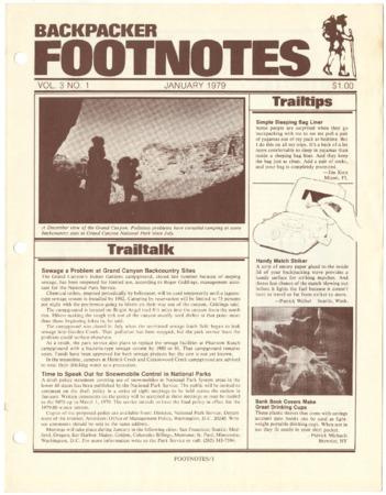 Backpacker Footnotes, January 1979