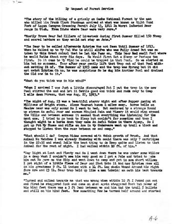 """Story of Old Ephraim's Death"" by Frank Clark, November 21, 1952"