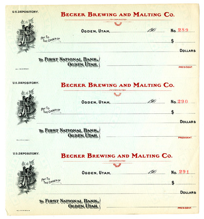 Blank Becker Brewing and Malting Company Checks, c. 1900