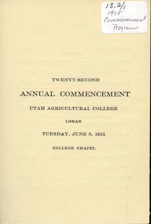 1915 UAC Commencement Program Cover