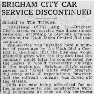 """Brigham City Car Service Discontinued,"" Salt Lake Tribune, 1919<br />"
