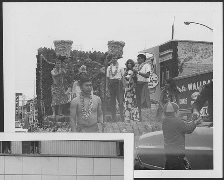Polynesian-themed Homecoming parade float, late 1960s
