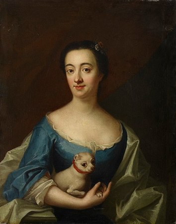 Portrait with a lady with lapdog