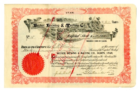 Stock Certificate for the Becker Brewing and Malting Company, 1904