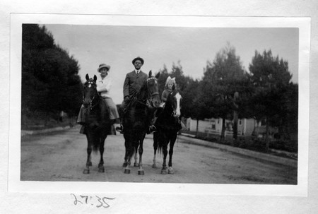 Gustav, Katherine, and Helen Becker on Horseback, undated