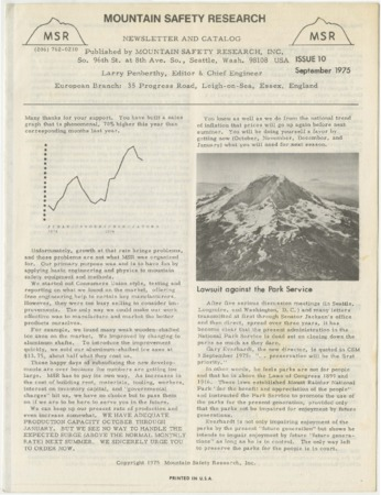 Mountain Safety Research, issue 10, 1975
