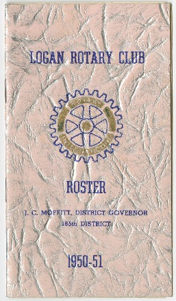 Logan Rotary Club Roster: J.C. Moffitt, District Governor, 165th District, 1950-51