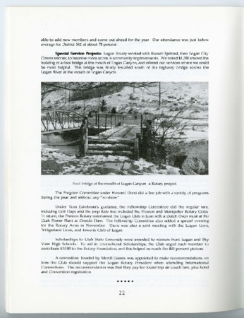 Excerpt from the 75th Anniversary History of Logan Rotary (First Dam Bridge), 1994
