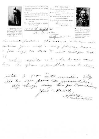 Letter from Harry Ermann to Jack London, dated November 1, 1911
