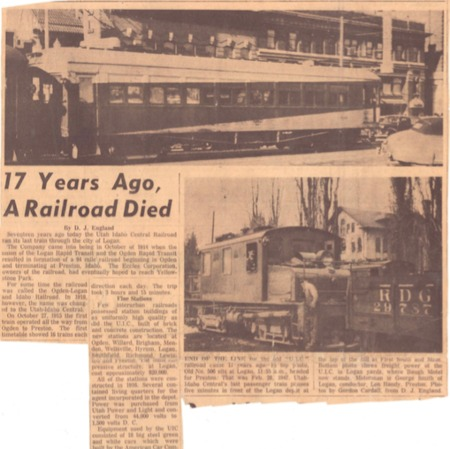 """17 Years Ago, A Railroad Died,"" Unknown Newspaper, 1964<br />"