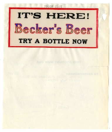 """It's Here! Becker's Beer"" Advertisment, 1917"