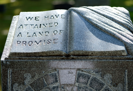 Open book and draped cloth, headstone, Logan city cemetery
